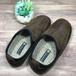 Sperry brown suede slip on loafer shoes